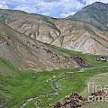 Mountain Landscape In The Tash Rabat Valley Of Kyrgyzstan by Robert Preston