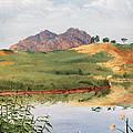 Mountain Landscape With Egret by Masha Batkova