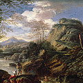 Mountain Landscape With Figures by Salvator Rosa