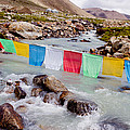 Mountain River And Buddhist Flags Lungta  by Raimond Klavins