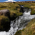 Mountain Stream And Guallatiri Volcano by James Brunker