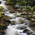 Mountain Stream With Scripture by Jill Lang