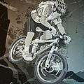 Mountainbike Sports Action Grunge Monochrome by Frank Ramspott