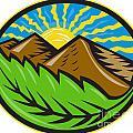 Mountains Leaf Sunburst Retro by Aloysius Patrimonio