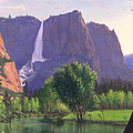 Mountains Waterfall Stream Western Mountain Landscape Oil Painting by Walt Curlee