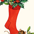 Mouse In A Christmas Sock by English School