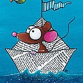 Mouse In His Paper Boat by Lucia Stewart