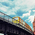 Moving Yellow Train In Kreuzberg U-bahn by Danilovi