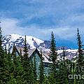 Mt Rainier And Paradise Inn by Sharon Seaward