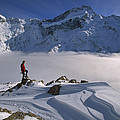Mt Sefton Climber At Mueller Glacier by Colin Monteath