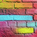 Multi-colored Brick Wall by Panoramic Images