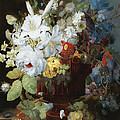 Multi-colored Flower Bouquet In Brown Vase C1784 by Sheila Savage