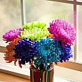 Multicolored Chrysanthemums In Paint Can On Window Sill by Jim Corwin