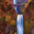 Multnomah Falls In Autumn by Angela Stanton