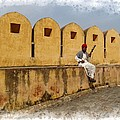 Musician - Amber Palace - India Rajasthan Jaipur by Sue Jacobi