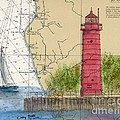 Muskegon Lighthouse Mi Nautical Chart Map Art Cathy Peek by Cathy Peek