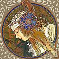 My Acrylic Painting As Interpretation Of Alphonse Mucha- Byzantine Head. The Blonde. Diagonal Frame. by Elena Yakubovich