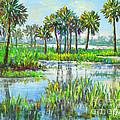 Myakka Lake With Palms by Lou Ann Bagnall