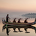 Myanmar, Monks In Boat At Ubein Bridge by Martin Puddy