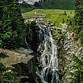 Myrtle Falls In Front Of Mt. Rainier by Joan Wallner
