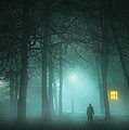 Mysterious Man In Fog With House And Window Light by Lee Avison