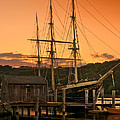Mystic Seaport Sunset-joseph Conrad Tallship 1882 by Expressive Landscapes Fine Art Photography by Thom