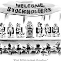 Naked Speakers On Stage At Stockholders Meeting by Lee Lorenz