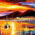 Naples-sunset Above Vesuvius - Palette Knife Oil Painting On Canvas By Leonid Afremov by Leonid Afremov