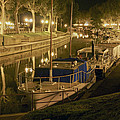 Narbonne France Canal De La Robine At Night Dsc01657  by Greg Kluempers