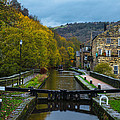 Narrow Boat Heading Up The Canal In The Fall by Dennis Dame