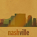 Nashville Tennessee Skyline Watercolor On Parchment by Design Turnpike