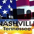 Nashville Tn Patriotic Large Cityscape by Angelina Vick