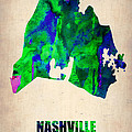 Nashville Watercolor Map by Naxart Studio