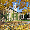 Nassau Hall With Fall Foliage by George Oze