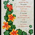 Nasturtiums And Serenity Prayer by Barbara Griffin