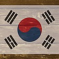 South Korea National Flag On Wood by Movie Poster Prints