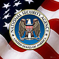 National Security Agency - N S A Emblem Emblem Over American Flag by Serge Averbukh