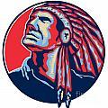 Native American Indian Chief Retro by Aloysius Patrimonio