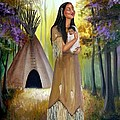Native American Mother And Child by Lora Duguay