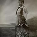 Native American Two Woman Bw by Karen  W Meyer