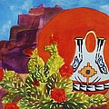 Native American Wedding Vase And Cactus by Ellen Levinson