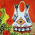 Native American Wedding Vase And Cactus-square Format by Ellen Levinson