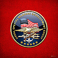 Naval Special Warfare Development Group - D E V G R U - Emblem On Red by Serge Averbukh
