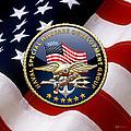 Naval Special Warfare Development Group - D E V G R U - Emblem Over U. S. Flag by Serge Averbukh