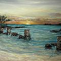 Navy Beach Seaside Sunset by Barbara Dalton