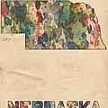 Nebraska Map Vintage Watercolor by Florian Rodarte