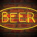 Neon Beer Sign On A Face Brick Wall by Allan Swart