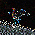 Neon Blue Heron by Marian Bell