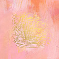 Nest- Pink And Gold Abstract Art by Linda Woods