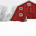 New England Red Barn In Winter Snow Storm by Edward Fielding